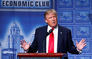 Republican U.S. presidential nominee Donald Trump speaks to the Detroit Economic Club at the Cobo Center in Detroit, Michigan