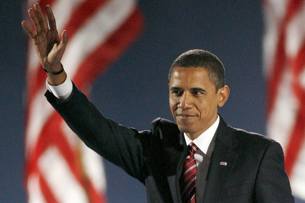 U.S. President-elect Senator Barack Obama waves to supporters during his election night rally in Chicago